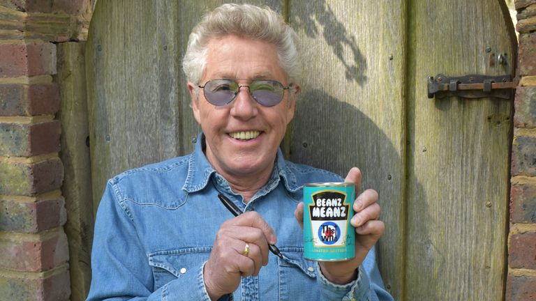 EMBARGOED TO 0001 FRIDAY APRIL 23 Undated handout photo issued by the Teenage Cancer Trust of Who frontman, Roger Daltrey with a signed tin of Heinz baked beans, which is among more than 50 items from celebrities including Beyonce, Noel Gallagher, Sir Cliff Richard and Vicky McClure which are being sold in aid of the Teenage Cancer Trust. Issue date: Friday April 23, 2021.