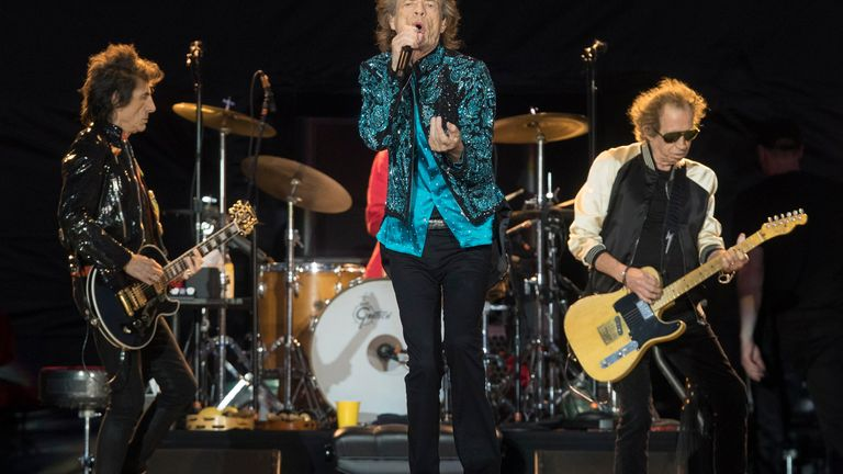 "FILE - Mick Jagger, center, Keith Richards, right, and Ronnie Wood, left, of the Rolling Stones perform during the ""No Filter"" tour in Oro-Medonte, Ontario, on June 29, 2019. The group is among several musicians who are objecting to their songs being used at President Donald Trump's campaign rallies. (Fred Thornhill/The Canadian Press via AP, File)"