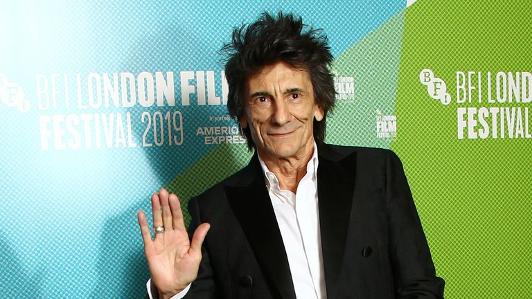 Musician and producer Ronnie Wood poses for photographers upon arrival at premiere of the film 'Someone Up There Likes Me' as part of the London Film Festival, in central London, Saturday, Oct. 12, 2019. (Photo by Joel C Ryan/Invision/AP)