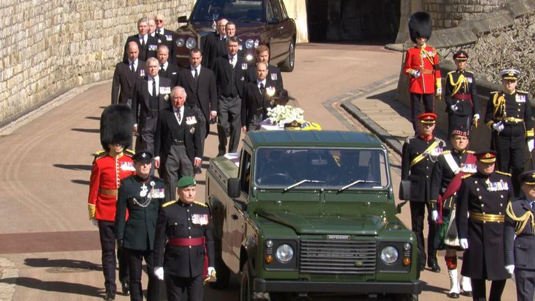 The Royal family follow the coffin of the Duke of Edinburgh as the funeral begins at Windsor castle