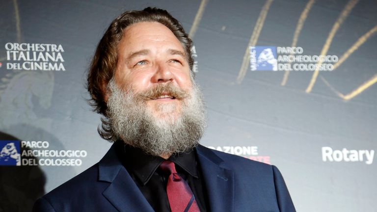 Actor Russel Crowe poses on the red carpet of the screening of Oscar-winning Hollywood blockbuster The Gladiator for a charity event, at the ancient Colosseum, in Rome, Wednesday, June 6, 2018. (AP Photo/Domenico Stinellis)