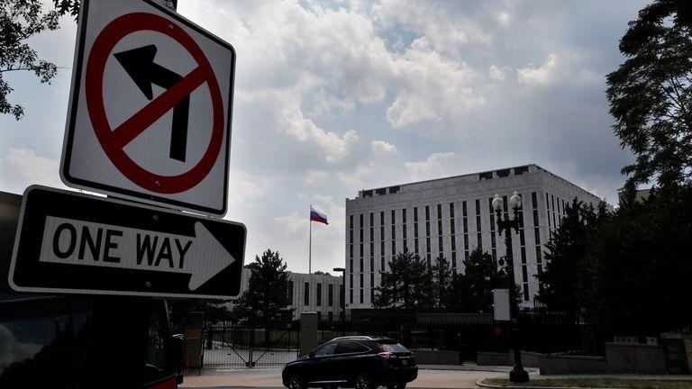 Russian Embassy is seen in Washington, U.S., July 16, 2018. REUTERS/Yuri Gripas