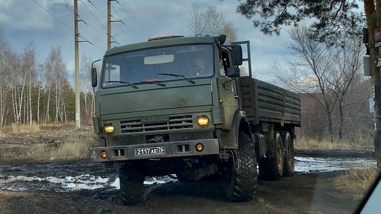field camp near Voronezh - 76 on the number plate means they come from Russia's Central Military District