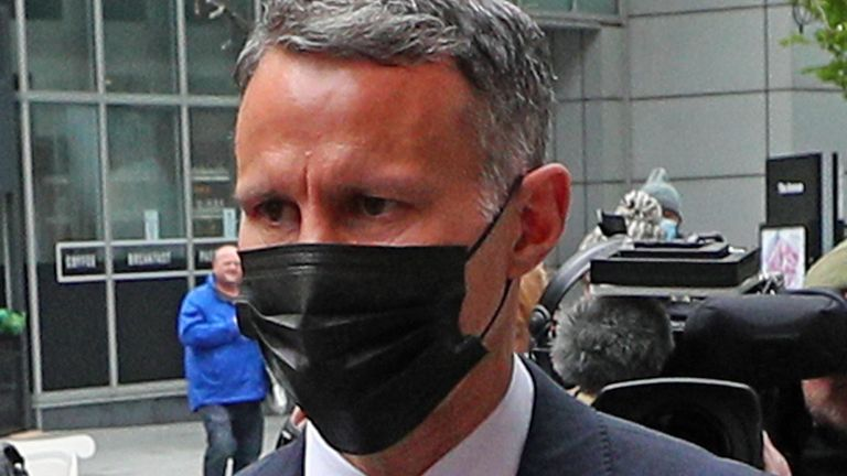 Former Manchester United footballer Ryan Giggs arrives at Manchester Magistrates' Court, with his legal team, where he is charged with assaulting two women and controlling or coercive behaviour. Picture date: Wednesday April 28, 2021.