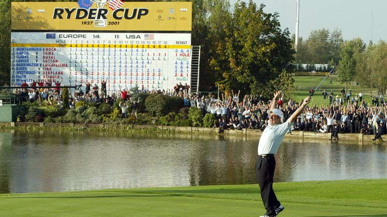 The Belfry , Birmingham , 29/9/02 Paul McGinley - European Team celebrates after winning the Ryder cup after his putt on the 18th. Pic: Action Images/Brandon Malone