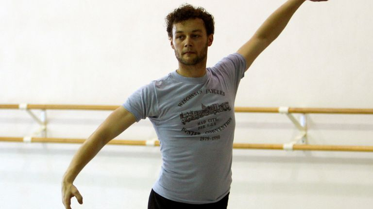 In this photo taken Tuesday, Aug. 14, 2012,  Royal Ballet choreographer Liam Scarlett works with Miami City Ballet. Pic: AP