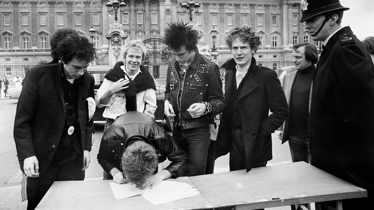The Sex Pistols in 1977, with Lyndon far left. File pic