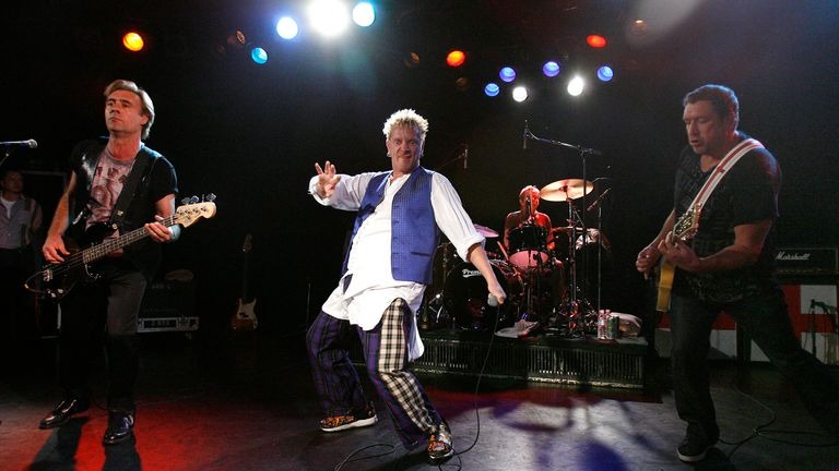 From left to right, Glen Matlock, Johnny Rotten, Paul Cook and Steve Jones perform as the Sex Pistols in 2007