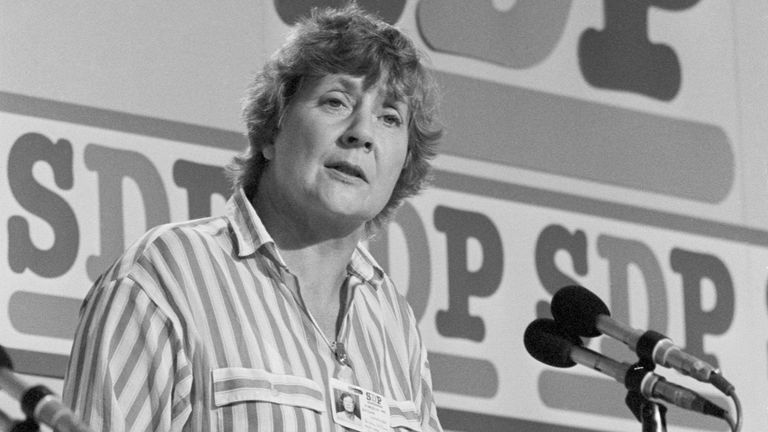 File photo dated 10/09/85 of Social Democratic Party President Shirley Williams speaking at the SDP conference when she sought to dispel the party's anti-trade union image. The former cabinet minister and Liberal Democrat peer, Baroness Williams of Crosby, has died aged 90, the Liberal Democrats have said. Issue date: Monday April 12, 2021.