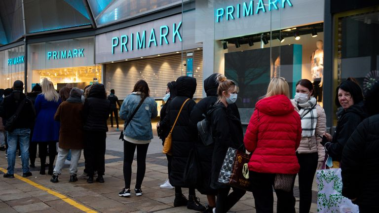 Early morning shoppers at Primark, in Birmingham, as England takes another step back towards normality with the further easing of lockdown restrictions. Picture date: Monday April 12, 2021