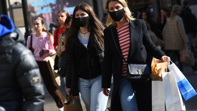 Shoppers on Regents Street, London, as England takes another step back towards normality with the further easing of lockdown restrictions. Picture date: Monday April 12, 2021.