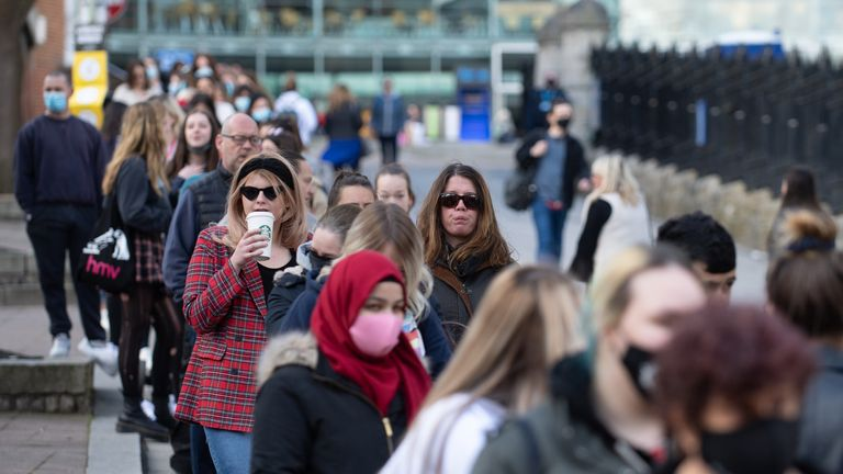 Shoppers queue outside Primark in Norwich as England takes another step back towards normality with the further easing of lockdown restrictions. Picture date: Monday April 12, 2021.