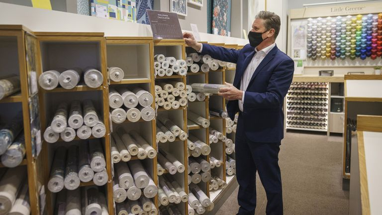 The Labour leader checks out wallpaper in John Lewis