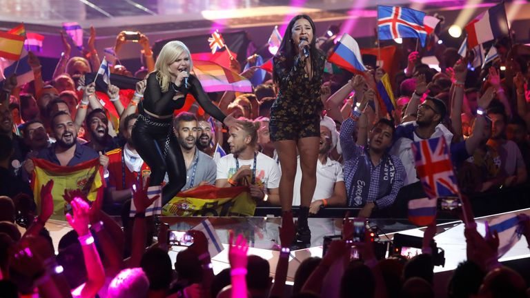 Fans watch German act S!sters at the 2019 edition of the Eurovision Song Contest. Pic: AP