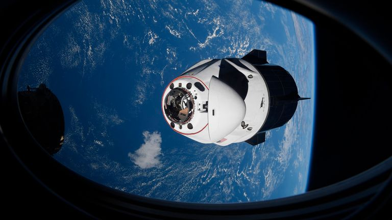 The SpaceX capsule successfully docked onto the International Space Station over the weekend. Pic AP