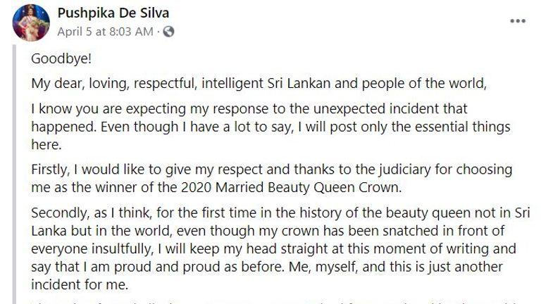 Mme De Silva a répondu sur Facebook avec ce message qui a été traduit du cinghalais.