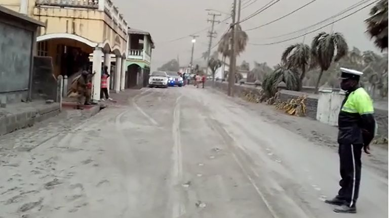 Roads on the island are covered in ash