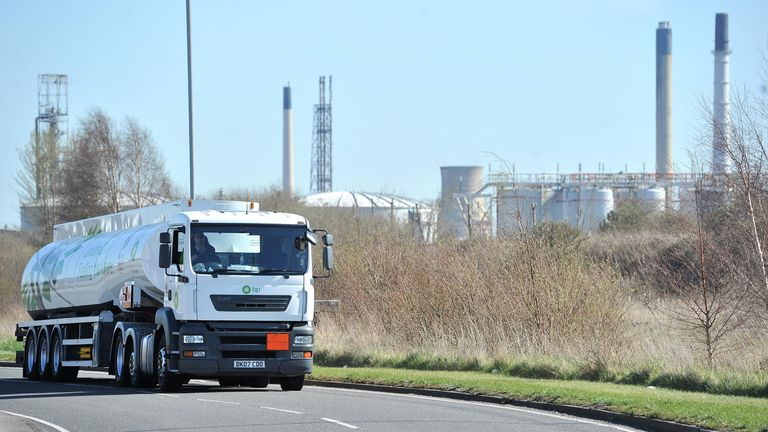 Petrol Tankers leave Stanlow Oil refinery, Ellesmere port, Cheshire