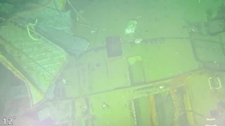 Parts of the sunken submarine. Pic: Indonesian Navy via AP