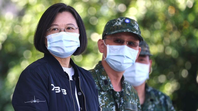 President Tsai Ing-wen overseeing a military emergency drill in Tainan