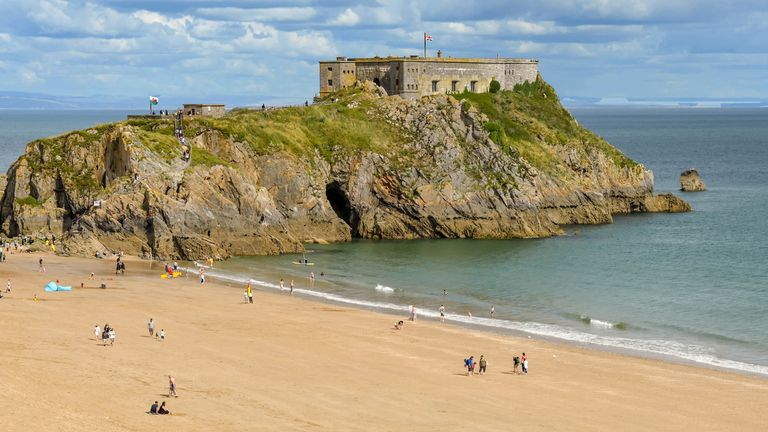 Police were called to the beach opposite St Catherine's Island in Tenby, Wales,