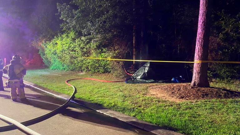The Tesla Model S hit a tree and burst into flames