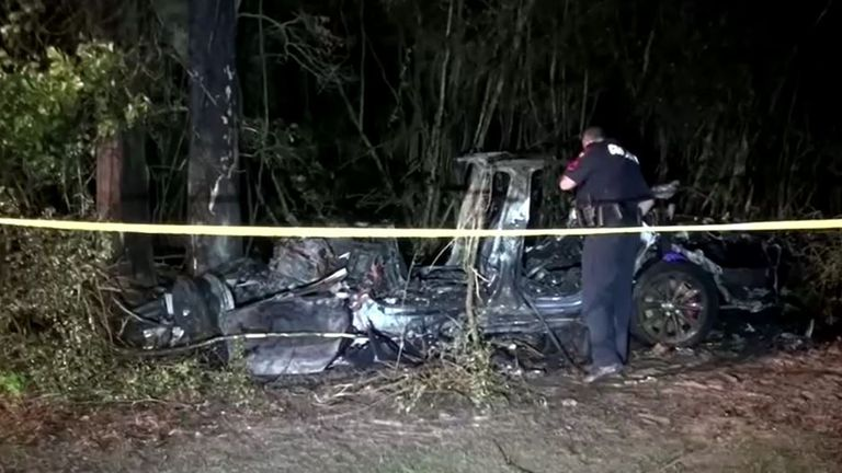 Two men died after a Tesla vehicle, which was believed to be operating without anyone in the driver's seat, crashed into a tree on April 17 north of Houston. Pic: Scott J Engle