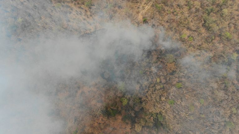 Drone footage shows the extent of the fires