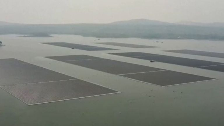 Huge floating solar panel installation in Thailand