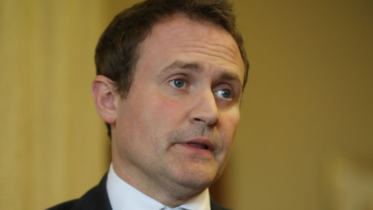 Committee chairman Tom Tugendhat speaking to the media at the Armagh city hotel as members of the Commons Foreign Affairs Committee came to Northern Ireland to discuss foreign policy and Brexit.  PRESS ASSOCIATION Photo. Picture date: Thursday June 13, 2019. See PA story ULSTER Politics. Photo credit should read: Niall Carson/PA Wire