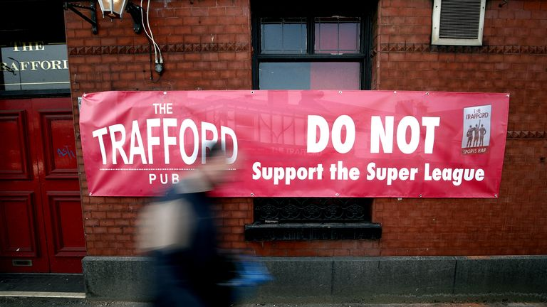 A banner outside of the Trafford pub in Manchester