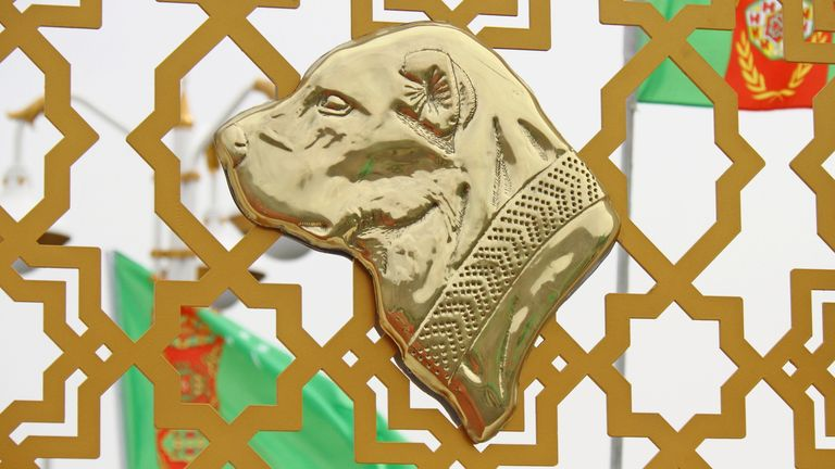 A golden bust of the dog is used during national celebrations on Sunday