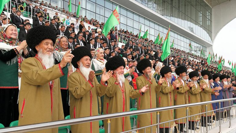 Crowds applaud during the ceremony organised in Ashgabat on Sunday
