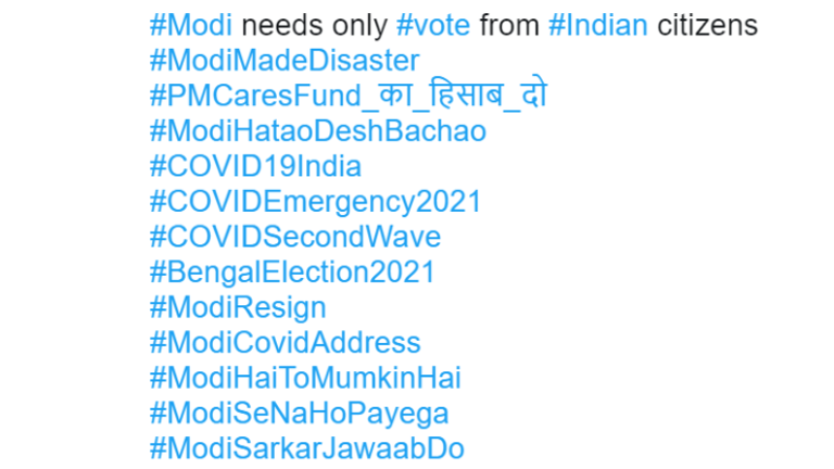 This image shows the hashtags used on one of the now-removed tweets.