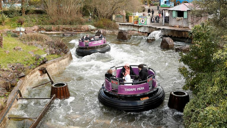 People enjoy the ride as Thorpe Park reopens following easing of the coronavirus disease (COVID-19) restrictions, in London, Britain April 12, 2021. REUTERS/Matthew Childs