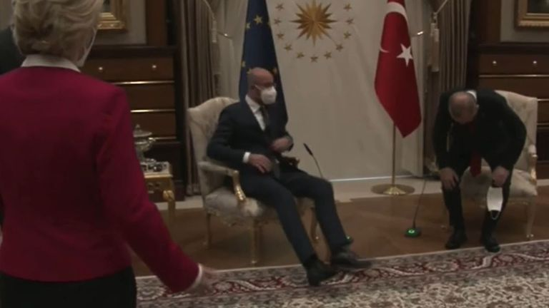 Ursula von der Leyen snubbed in awkward chair situation at meeting with  Turkish president | World News | Sky News