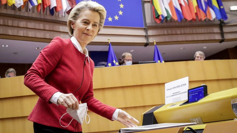European Commission President Ursula von der Leyen attends the debate on EU-UK trade and cooperation agreement during the second day of a plenary session at the European Parliament in Brussels, Belgium April 27, 2021. Olivier Hoslet/Pool via REUTERS