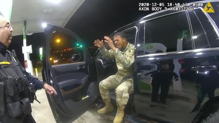 This US lieutenant is suing police over a traffic stop. Caron Nazario was detained by police in the down of Windsor, Virginia, in December. He says his constitutional rights were violated.