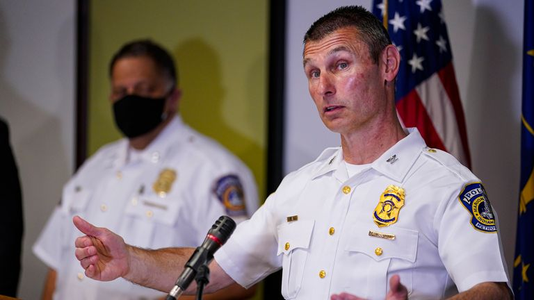 Deputy Chief Craig McCartt of the Indianapolis Metropolitan Police Department speaks at a press conference. Pic: AP