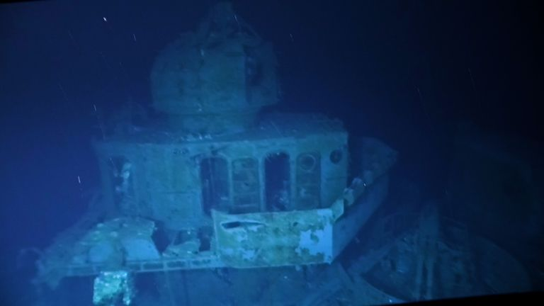 The wreck of the USS Johnston has been filmed for the first time. Pic: Victor Vescovo/Caladan Oceanic