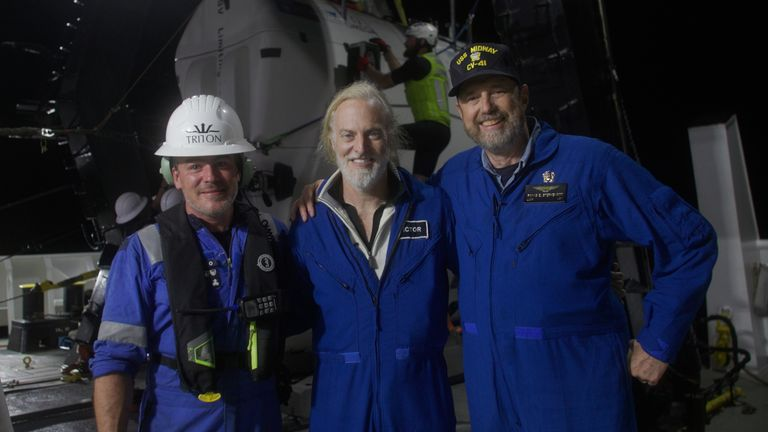 The crew of the submersible who filmed the shipwreck. Pic: Nick Verola/Caladan Oceanic