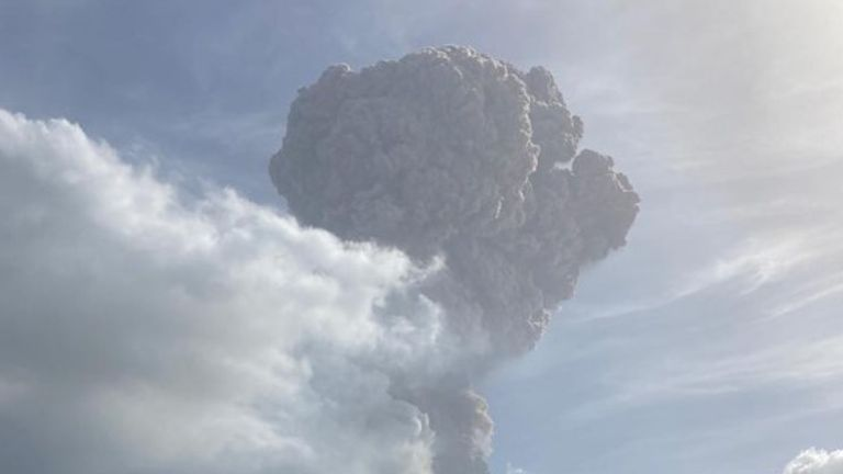 The huge ash cloud after La Soufriere volcano on St Vincent in the Caribbean erupted. Pic: UWI Seismic Research
