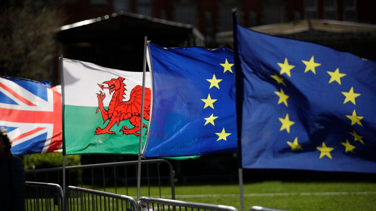 A Welsh flag, second left, placed by protestors who support Britain remaining in the European Union is blown in the wind next to a Union flag, at left, and two European flags near the Houses of Parliament in London, Tuesday, March 5, 2019. The National Assembly for Wales and the Scottish Parliament are both due to vote later Tuesday on motions declaring opposition to British Prime Minister Theresa May's Brexit deal and declare their opposition a no-deal Brexit. (AP Photo/Matt Dunham)