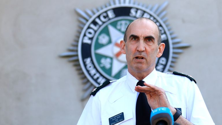 PSNI Belfast District Commander Chief Superintendent Simon Walls speaks to the media at police headquarters in Belfast