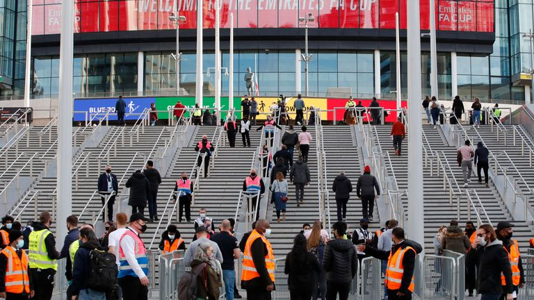General view outside the stadium before the match as thousands of fans return to Wembley for FA Cup semi-final as part of coronavirus events trial