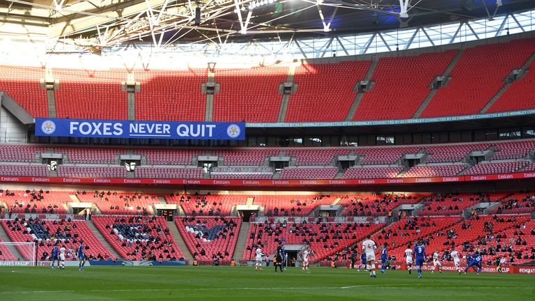 General view inside the stadium during the match as thousands of fans return to Wembley for FA Cup semi-final as part of coronavirus events trial