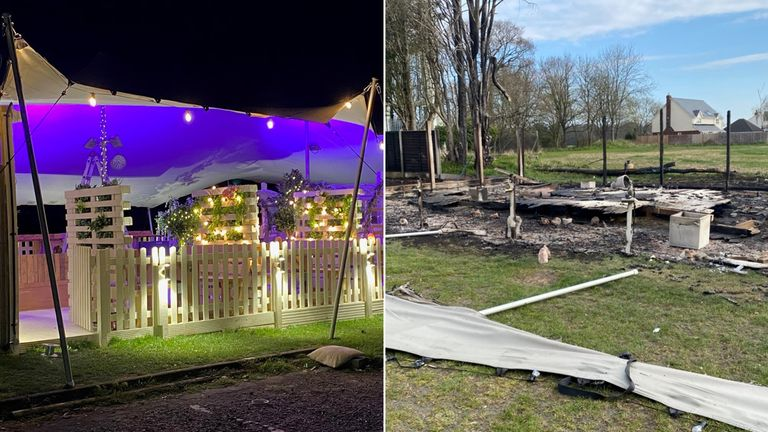 The 'before' and 'after' view of a brand new £25k pub garden at the White Horse in Hertfordshire before suspected arsonists destroyed it. Pic: White Horse
