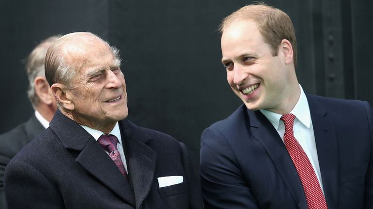 Prince Philip chats to Prince William in 2015