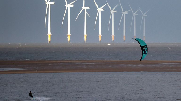 Wind farms such as Burbo Bank in Liverpool Bay, UK, produce renewable energy