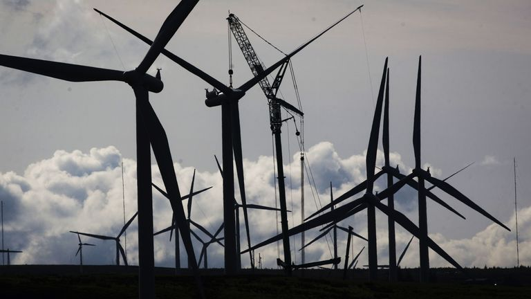 Wind turbines at Whitelee Windfarm in East Renfrewshire